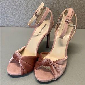 BEBE velvet heeled sandal size 6